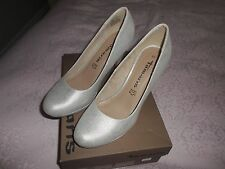 TAMARIS SILVER STRUCT 943 COURT SHOES WITH 4 INCH HEEL