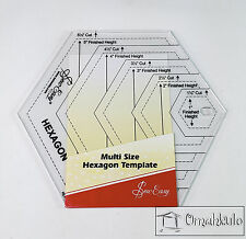 """SEW EASY - Multi Size Hexagon Template Ruler 1.5"""" - 5.5"""" Sizes - Clear Acrylic-*"""
