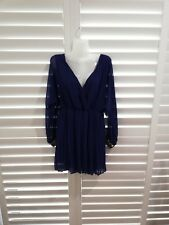 Women ASOS long sleeve mini dress deep v jeweled cuff size 8