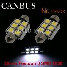 2X Error Free License Plate Light Bubls 36mm Festoon White 6 SMD LED 6418 6411