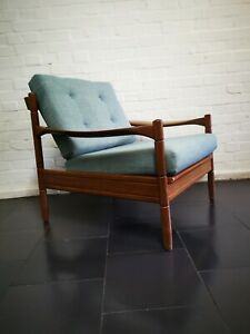 Vintage Mid Century Danish Style Guy Rogers Teak Armchair Lounge Chair
