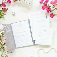 LASER CUT WEDDING INVITATIONS DIY WITH ENVELOPES FREE SHIPPING POCKET GREY