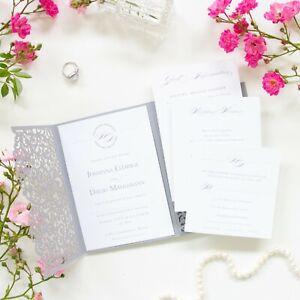 LASER CUT WEDDING INVITATIONS DIY WITH ENVELOPES FREE SHIPPING POCKET GREY