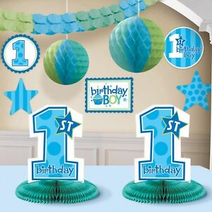 Boys 1st Birthday Party Decorating Kit 10 pieces