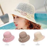 Summer Women's Flower Beach Bucket Braid Dome Straw Hat Mesh Bell Cloche Sun Cap