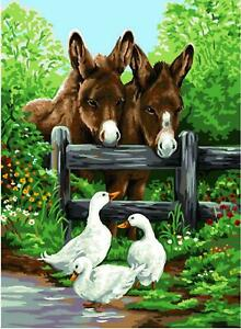 Royal Paris Tapestry/Needlepoint Canvas - Donkey & Geese (Anes)