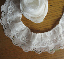 1 yard 3-layer Pleated Organza Lace Edge Trim Gathered Mesh Chiffon Ribbon White
