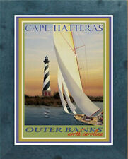 Framed Cape Hatteras Lighthouse - Art Deco Travel Poster -by Aurelio Grisanty