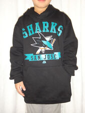 San Jose Sharks NHL Majestic Hooded Pullover Fleece Sweatshirt Youth Small