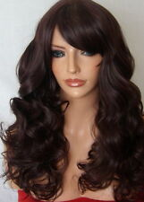 Long Curly Women Fashion Black Plum Ladies Adult Costume full head Hair Wig M19