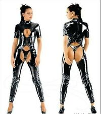 Sexy LINGERE PVC Faux Leather Catsuit Crotchless Fetish Buckle CORSET A18 S--XXL