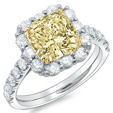 3.01Ct Fancy Yellow Cushion Cut Diamond Engagement Ring 18K Two Tone Gold