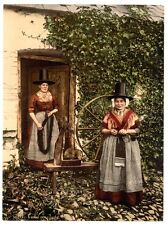 2 Victorian Photos of Welsh Spinners Costume Dress Wales Repro Old Vintage NEW