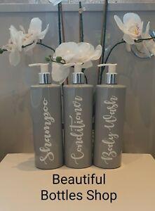 Bathroom Bottles Black Grey or White Mrs Hinch Shampoo Conditioner Body Wash