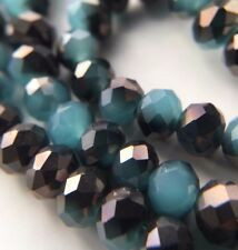 50 Stück Jade/Metall Facettierte Glasperlen 6mm Kügelchen Stein|DIY Schmuck