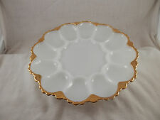 Vintage Milk Glass Gold trimmed Egg platter
