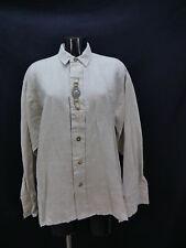 Gr.M Trachtenhemd Imperial beige Baumwolle Leinen Edelweiß Stickerei Hemd TH1532