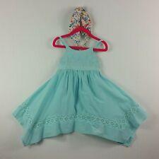 Tahari Girls Dress Headband 4T Teal Green Sundress Straps Handkerchief Hem New