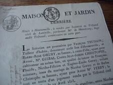 LORRAINE AFFICHETTE VENTE MAISON  HAUSSONVILLE TRIBUNAL LUNEVILLE SIGNE 1818