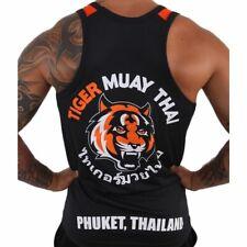 Men Black Tiger Muay Thai Mma Training Vest Breathable Absorbent clothing New