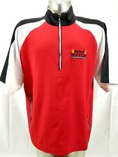 FootJoy Golf Short Sleeve 1/2 Zip Wind Shirt Red White Black Men's Large