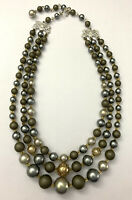 Vintage Japan Signed Multi Strand Gray Faux Pearl Beaded Choker Collar Necklace