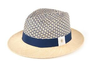 Helen Kaminski Hat Panama Straw Accented with Rich Blue