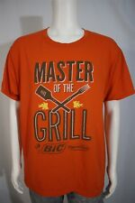 Men's LARGE Big Flame Disk Lighter Master Of The Grill Orange SS T-shirt