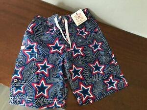 NWT HANNA ANDERSSON Boys  Swim Trunks Shorts  Blue Red White Stars Sz 5 /110cm