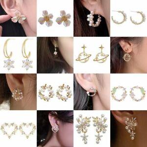 Fashion Resin Acrylic Flower Pearl Stud Hoop Earrings Drop Dangle Women Jewelry