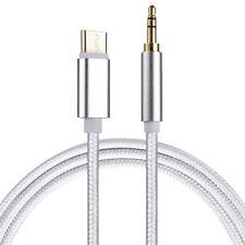 USB C zu 3,5mm Klinke Stecker AUX Kabel Stoffummantelt / Länge: 1m / in silber