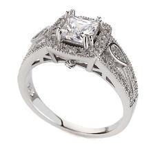Luxury Fidanzamento Matrimonio Placcato Platino Quadrato Anello di medie dimensioni o 17 mm fr159