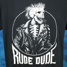 vintage 80s Rude Dude Punk Biker Skeleton Paper Thin T-Shirt L/Xl skull mohawk