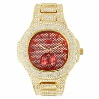 Men Gold Iced Watch Bling Rapper Simulate Lab Diamond ALL Over Band Luxury Rich