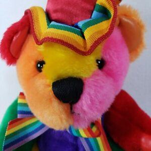 """Rainbow Happy Birthday Teddy Bear Plush Stuffed Doll First & Main 9"""""""