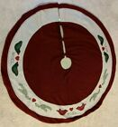 Christmas Tree Skirt By St. Nicholas 'Noel' Birds 49' Applique Embroidered Red