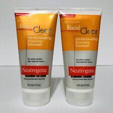 Neutrogena Rapid Clear Oil Eliminating Foaming Cleanser LOT 2-6oz Acne Prone NEW