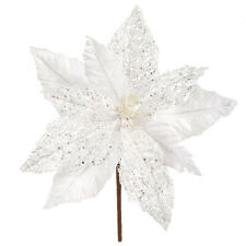 Darice Christmas Poinsettia Pick: White, 10 x 12 inches w