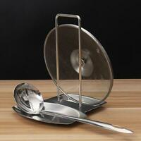 Kitchen Stainless Pan Pot Rack Cover Lid Rest Stand Spoon Holder Tools 6T