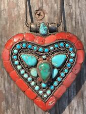 Antique Tibetan Prayer Box Heart Sterling Silver Turquoise Coral 925 Gau Ghau