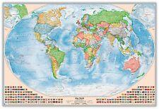 Politische Weltkarte als Pinnwand im silbernen Alurahmen, Größe 120 x 80 cm
