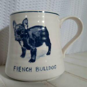 Molly Hatch French Bulldog Dog Mug Large Coffee Cup Blue Off-White Anthropologie