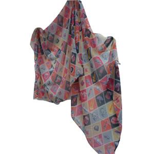 London icon themed shawl / pashmina pink.  Bus, Taxi etc