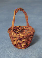 Dark Brown Medium Shopping Basket, Dolls House Miniature, Accessory Miniatures