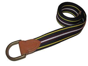 Polo Ralph Lauren Navy Blue Stripe Brass D Ring Ivy League Webbed Belt Large