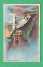 1909 P. SCHMIDT ART POSTCARD #33 ROMANTIC COUPLE SIT BY FIREPLACE