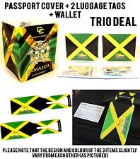 JAMAICA TRIO TRAVEL CREDIT CARD WALLET PASSPORT COVER PROTECTOR LUGGAGE ID TAGS