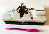 Vtg ALITALIA AIRLINES Italy Lithograph Metal TIN Hinged Lid Magnifica Class VG
