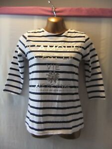 LADIES NWT F&F 6 WHITE STRETCH/NAVY STRIPE/SILVER FRONT PRINT/MID-SLEEVE TOP