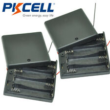 """2pcs AA Battery Holder Case 4-AA Cells Box With 6"""" Cable Leads & Cover & Switch"""